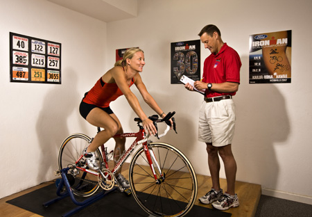 Cyclist on computrainer