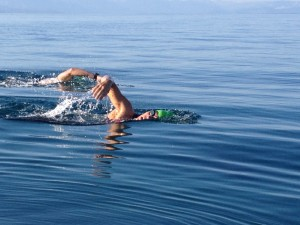 Calm open water swim