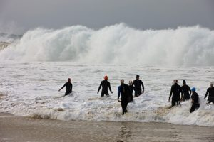 This is not your normal surf entry! This wave and many others like it were caused by a tsunami that moved into Newport Beach in 2009 just in time for the Pacific Coast Triathlon. And no, we did not end up swimming. They changed it to a duathlon. . . .