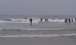 Ocean swim entry Carlsbad July 8, 2012 with buoys